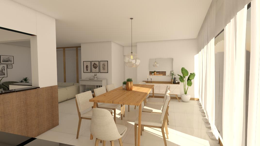 Projeto de sala de jantar no estilo minimalista